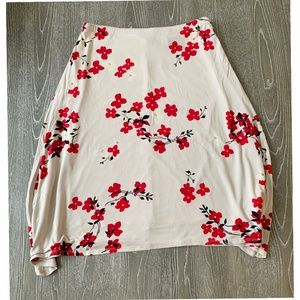 New York & Co Red Floral Skirt